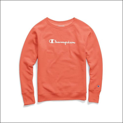 Champion Womens Fleece Boyfriend Sweatshirt - Groovy Papaya / XS - Champion 0192503204716