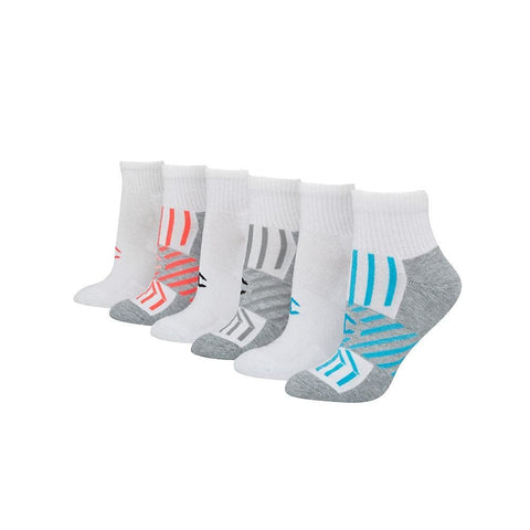 Champion Womens Performance Ankle Socks 6-Pack - White/Blue Stripes Assorted / 9-11_1 - Champion 038257127393