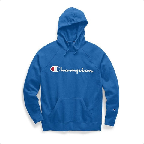 Champion Womens Powerblend® Fleece Pullover Hoodie Script Logo - Blue Jay / S - Champion 0192503608491