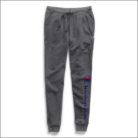 Champion Womens Powerblend® Fleece Joggers Vertical Logo - Granite Heather / XS - Champion 0192503607838
