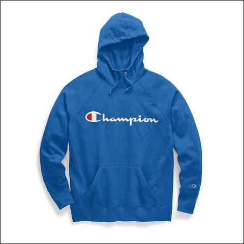 Champion Womens Powerblend® Fleece Pullover Hoodie Script Logo - Blue Jay / XS - Champion 0192503608484