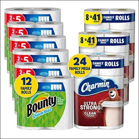 Charmin Ultra Strong Clean Touch Toilet Paper 24 Family Mega Rolls and Bounty Quick-Size Paper Towels 12 Family Rolls Bundle - Charmin