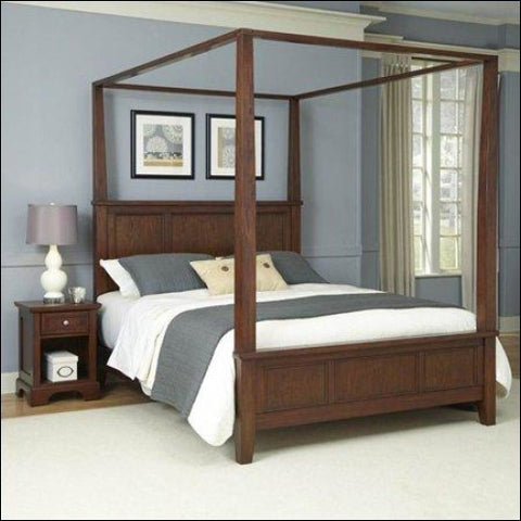 Chesapeake King Canopy Bed and Night Stand -Cherry -King - Homestyles 0095385004316