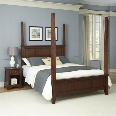 Chesapeake King Poster Bed and Night Stand -Cherry -King - Homestyles 0095385006037