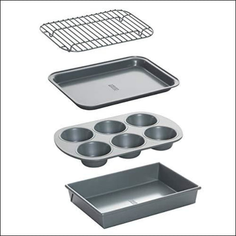 Chicago Metallic 8044 Non-Stick Toaster Oven Bakeware Set 4-Piece Carbon Steel - Chicago Metallic 604945289768