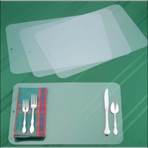 Clear Placemat Set of 4 - Washable Dining or Kitchen Table Mat - Plastic - Heat Resistant - Miles Kimball 0707569069645