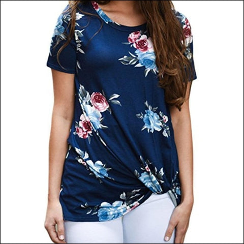 Clearance/Summer Blouse Womens Casual Floral Printing Knot T-Shirt Short Sleeve - Jushye 0654430814975