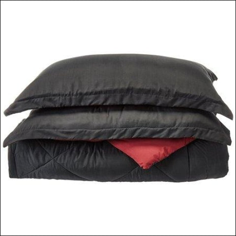 Close Out Deal , 3pc Comforter Set-Full/Queen, Black/Burgundy,Elegant Comfort,[product_size],[product_color]