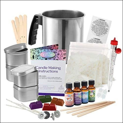 Complete DIY Candle Making Kit Supplies by CraftZee - Create Large Scented Soy Candles - Full Beginners Set Including 2 LB Wax Rich Scents