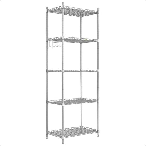 Cozzine 5 Tier Storage Shelves Adjustable Storage Shelves Heavy Duty Steel Tube Wire Shelving Unit (Silver 20.87x 12.99 x 59.45) by Instyle