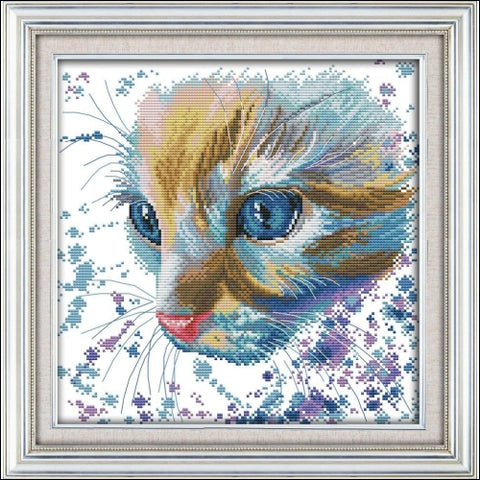 Cross Stitch Kits - 11CT Stamped Cross Stitch Kit Cross-Stitching Patterns Watercolor Cat with 11CT Printed Fabric - DIY Art Crafts Sewing