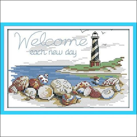 Cross stitch kits for lighthouse - Eafior DIY Handmade Needlework Embroidery Kits lighthouse pattern printed design Home Decoration Wall