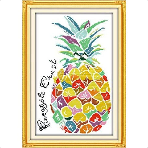 Cross Stitch Kits Pre-Printed Pattern Kit Stamped Cross-Stitch Kits for Beginners Adults Embroidery Needlepoint Kit Color Pineapple Kits for