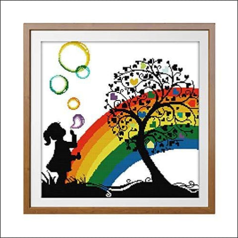 Cross Stitch Stamped Kit Quilt Pre-Printed Cross-Stitching Patterns for Beginner Kids & Adults- Embroidery Needlepoint Starter Kits Rainbow
