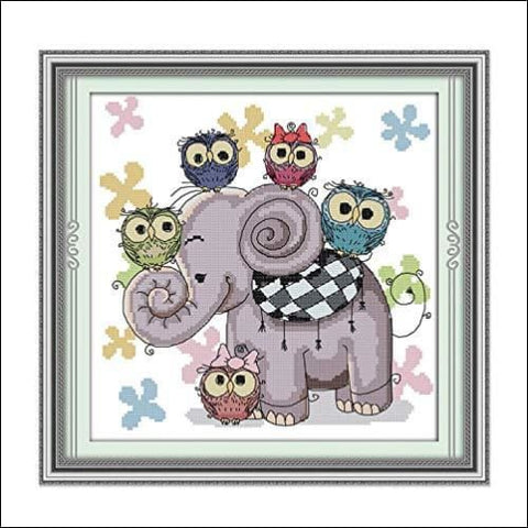 Cross Stitch Stamped Kits Pre-Printed Cross-Stitching Starter Patterns for Beginner Kids or Adults Embroidery Needlepoint Kits Elephant and