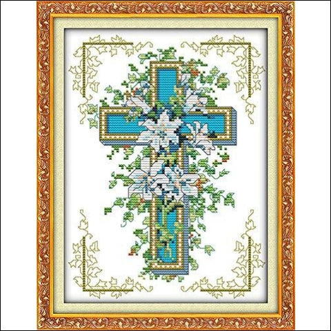 Cross Stitch Stamped Kits Pre-Printed Cross-Stitching Starter Patterns for Beginner Kids or Adults Embroidery Needlepoint Kits The Cross