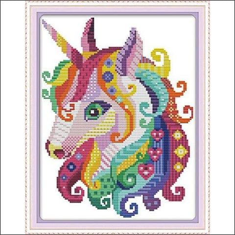 Cross Stitch Stamped Kits Pre-Printed Cross-Stitching Starter Patterns for Beginner Kids or Adults Embroidery Needlepoint Kits Unicorn in