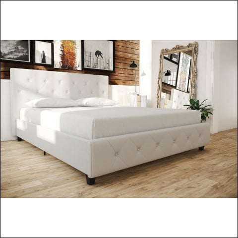 Dakota Upholstered Faux Leather Platform Bed with Wooden Slat Support and Tufted Headboard and Footboard White - Queen - DHP 0029986402608