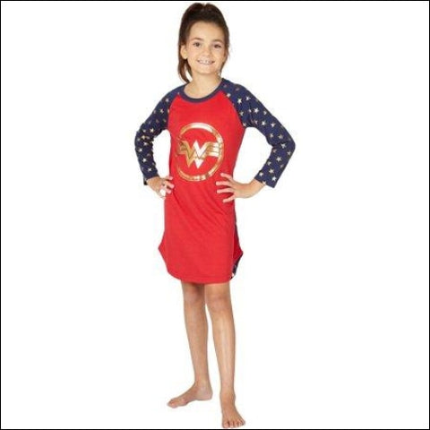 Dc comics wonder woman raglan logo pajama nightgown (little girls & big girls) - WONDER WOMAN 0763059842624