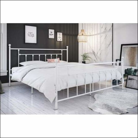 DHP Manila Metal Bed with Victorian Style Headboard and Footboard Includes Metal Slats King White - DHP 0029986323699