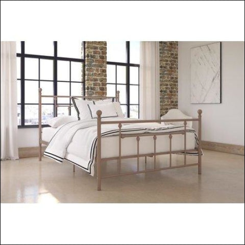 DHP Manila Metal Bed with Victorian Style Headboard and Footboard Includes Metal Slats Queen Bronze - DHP 0029986323682