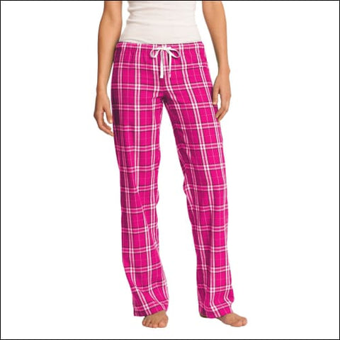 District Womens Flannel Plaid Pant. DT2800 - Dark Fuchsia / XS - District 191265375894