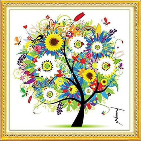 DIY Cross Stitch Kits Handmade Needlework Embroidery Kits Colorful Tree Home Decoration Summer Season - Enxee 0768430216360