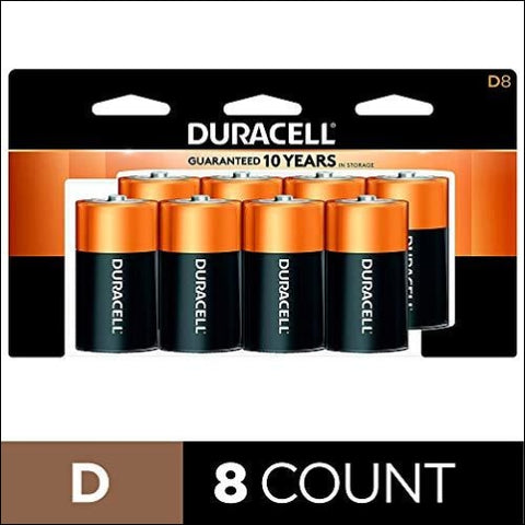 Duracell - CopperTop D Alkaline Batteries with recloseable package - long lasting all-purpose D battery for household and business - 8 count