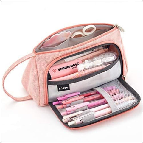 EASTHILL Big Capacity Pencil Pen Case Bag Pouch Holder for Middle High School Office College Girl Adult Large Storage Pink - EASTHILL