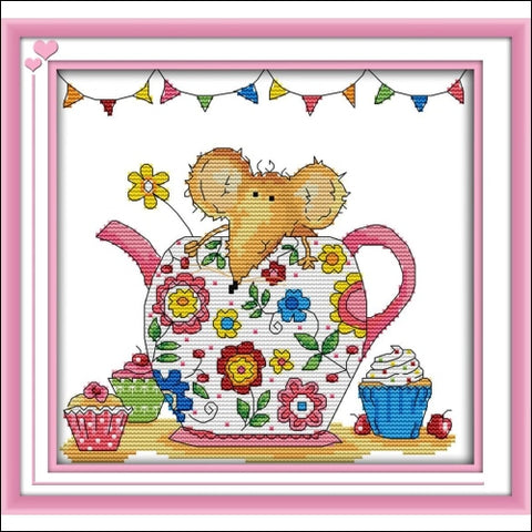 eGoodn Stamped Cross Stitch Kits Printed Pattern - Flower Mouse 11CT Fabric Measures 13 by 11.4 Wall Decor Art Embroidery Cross-Stitching No