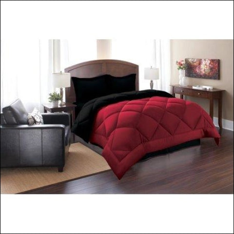 Elegant Comfort Goose Down Alternative Reversible 2pc Comforter Set- Available In A Few Sizes And Colors Twin Black/Burgundy - Elegant