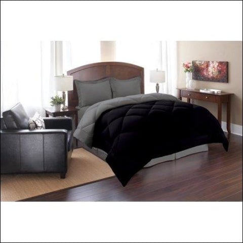 Elegant Comfort Goose Down Alternative Reversible 2pc Comforter Set- Available In A Few Sizes And Colors , Twin, Black/Gray,Elegant Comfort,[product_size],[product_color]