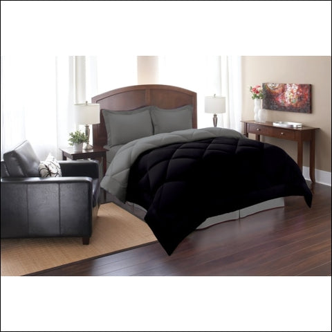 Elegant Comfort Goose Down Alternative Reversible 2pc Comforter Set- Available In A Few Sizes And Colors Twin Black/Gray - Elegant Comfort