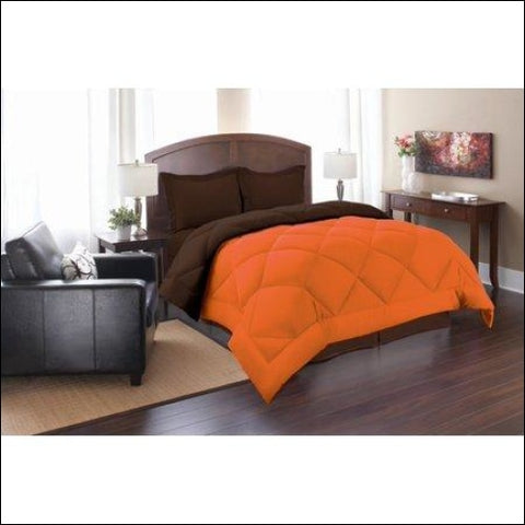 Elegant Comfort Goose Down Alternative Reversible 2pc Comforter Set- Available In A Few Sizes And Colors Twin Orange/Chocolate - Elegant