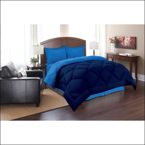 Elegant Comfort Goose Down Alternative Reversible 3pc Comforter Set- Available In A Few Sizes And Colors King/Cal King Navy/Aqua - Elegant