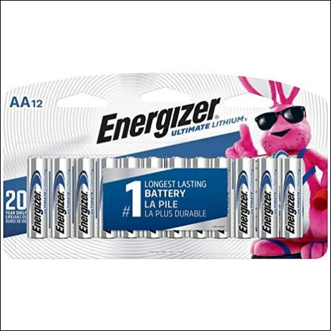 Energizer AA Lithium Batteries Worlds Longest Lasting Double A Battery Ultimate Lithium (12 Battery Count) - Packaging May Vary - Energizer