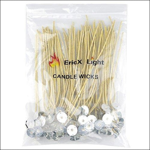 EricX Light Organic Hemp Candle Wicks 100 Piece 8 Pre-Waxed by 100% Beeswax & Tabbed for Candle Making - EricX Light 606089858138
