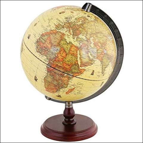 Exerz Antique Globe 10 / 25 cm Diameter with A Wood Base Vintage Decorative Political Desktop World - Rotating Full Earth Geography
