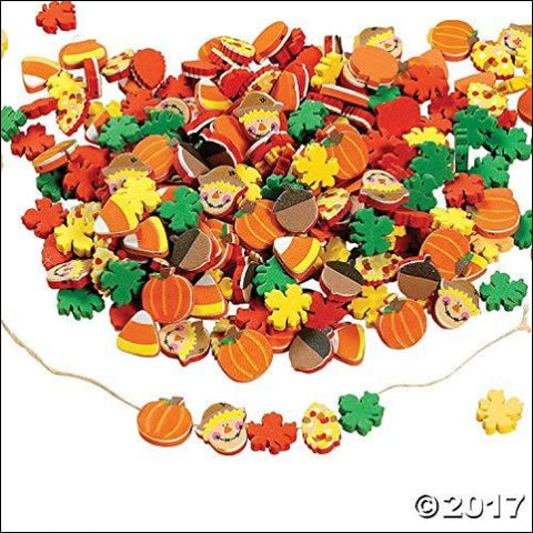 Fun Express 500 Fabulous Foam Thanksgiving Harvest Mix Bead Assortment - Turkey Fall Leaves Pumpkin Art & Craft Supplies & Kids Beading