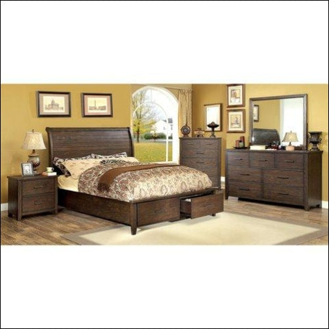 Furniture of America Raylene 4-Piece Footboard Storage Espresso Bedroom Set Multiple Sizes - Furniture of America 0889435684067