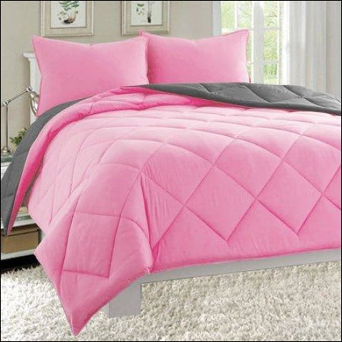 Goose Down Close Out Deal 2pc Comforter Set-Twin Pink/Gray - Elegant Comfort 0755874901792