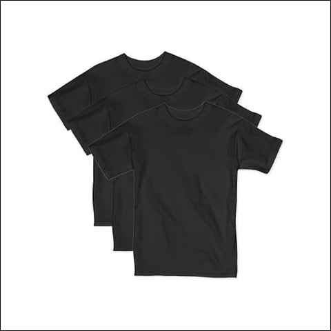 Hanes Boys Beefy Short Sleeve Tee Value Pack (3-pack) - Black / XS - Hanes 078715841423