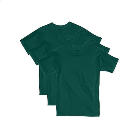 Hanes Boys Beefy Short Sleeve Tee Value Pack (3-pack) - Deep Forest / XS - Hanes 078715841478