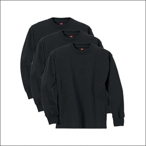 Hanes Boys ComfortSoft Long Sleeve Tee Value Pack (3-pack) - Black / XS - Hanes 078715812256