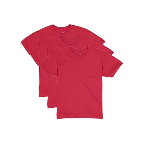 Hanes Boys EcoSmart Short Sleeve Tee Value Pack (3-pack) - Deep Red / S - Hanes 0192503375126