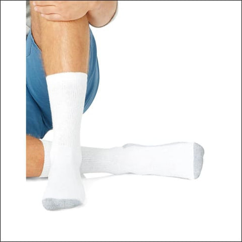Hanes Mens Big & Tall Cushion Crew Socks 6-Pack - White / 43813 - Hanes 0038257529661