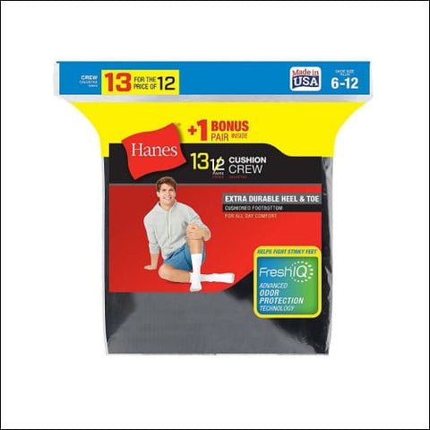 Hanes Mens Cushion Crew Socks 13-Pack (Includes 1 Free Bonus Pair) - Black / 43751 - Hanes 0038257756098