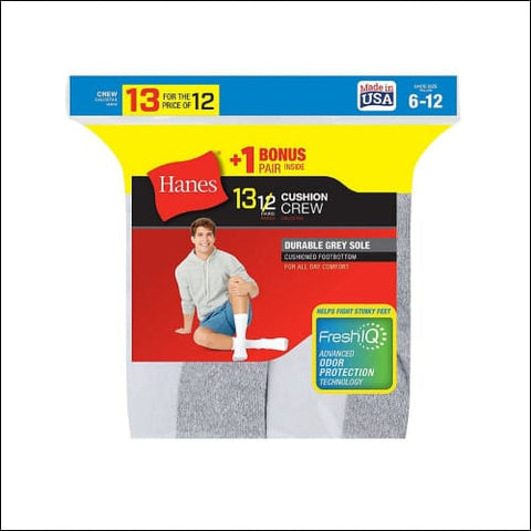 Hanes Mens Cushion Crew Socks 13-Pack (Includes 1 Free Bonus Pair) - White / 43751 - Hanes 0038257755145