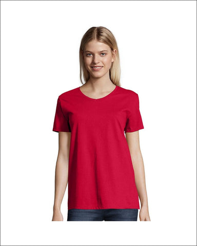 Hanes Relaxed Fit Womens ComfortSoft® V-neck T-Shirt - 5780 - Deep Red / 2XL - Hanes 766369212187