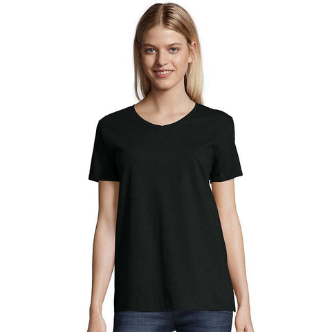 Hanes Relaxed Fit Womens ComfortSoft® V-neck T-Shirt - Black / 3XL - Hanes 011919259847